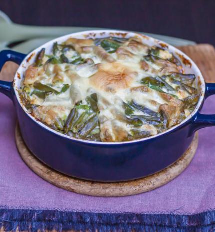Ebéd ötlet: juhtúrós rakott zöldbab