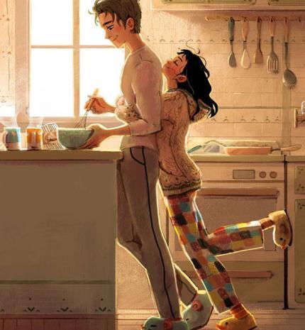 6 illusztráció, amely bemutatja a szerelem apró szépségeit