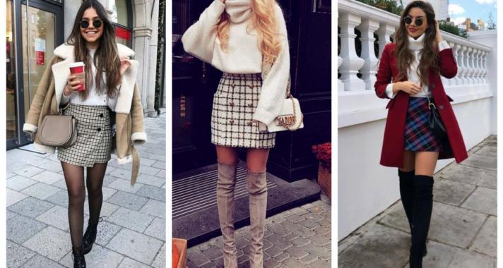 Stílusiskola: téli outfitek kockás szoknyákkal